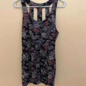 Floral Mini Dress with Cut Out Back (M)
